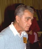 Photo of Jack Kirby at the San Diego 1982 Comic Convention